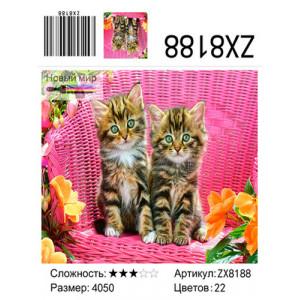 """ZX8188 Алмазная мозаика """"Котята на розовом фоне"""", 40х50 см"""