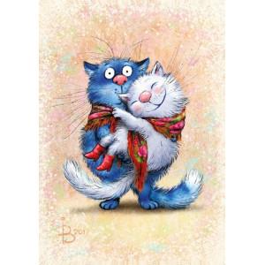 """895305 алмазная мозаика АРМК """"Кошка на руках у кота"""", 40х50 см"""