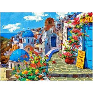 """11119 АРМК """"Бело-синие дома с цветами"""", 40х50 см"""