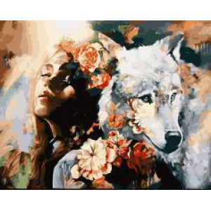 "895317 АРМК ""Девушка, волк, розы"", 40х50 см"