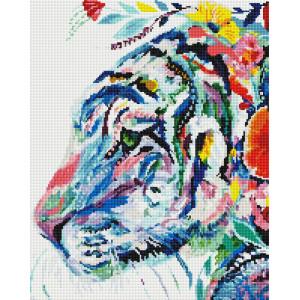 """GF1856 Алмазная мозаика на подрамнике """"Цветной тигр"""", 40х50 см"""