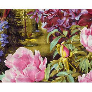 """GF2039 Алмазная мозаика на подрамнике """"Цветущие пионы"""" 40х50 см"""