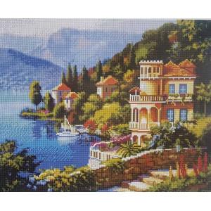 "GF2199 Алмазная мозаика на подрамнике ""Вилла на побережье"" , 40х50 см"