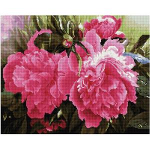 """GF2208 Алмазная мозаика на подрамнике """"Розовые пионы"""", 40х50 см"""