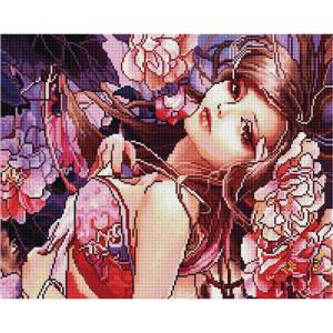 """GF2213 Алмазная мозаика на подрамнике """"Гейша с цветами"""", 40х50 см"""