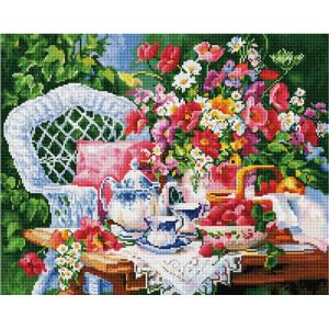 "GF2229 Алмазная мозаика на подрамнике ""Чаепитие в саду"", 40х50 см"