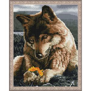 Алмазная мозаика 40х50, круглые стразы CK 605 Любознательный волчонок