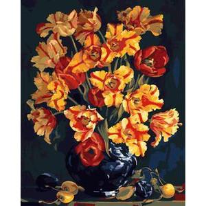 """GХ8982 """"Желтые цветы в черной вазе"""", 40х50 см"""