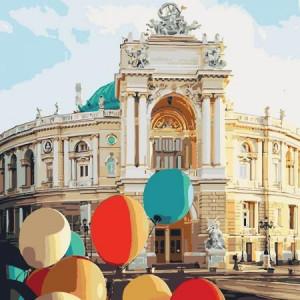 """GX26674 Картина по номерам """"Воздушные шары на площади"""", 40х50 см"""