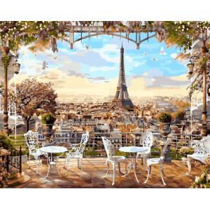 Картина по номерам GX 8876 Кафе с видом на Эйфелеву башню 40*50