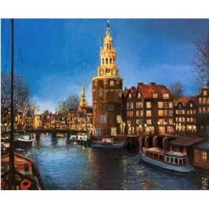 GX 22939 Башня на набережной картины по номерам на холсте 40х50 см