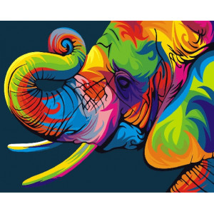 Картина по номерам GX 27735 (GX 26196) Радужный слон 40*50