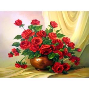 """Q1367 """"Красные розы в коричневой вазе"""", 30х40 см - купить в Омске недорого"""