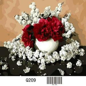 """Q209 """"Белые и красные цветы на черном столе"""", 30х40 см - купить недорого в интернет магазине"""