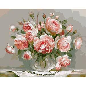 "Q1082 ""Розы в прозрачной вазе"", 30х40 см - купить в Омске недорого"