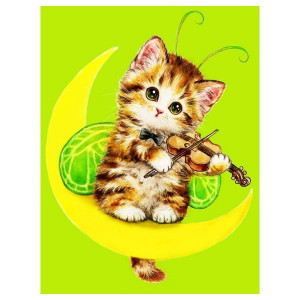 "ЕХ5241 ""Котенок со скрипкой на луне"", 30х40 см - купить в Омске недорого"