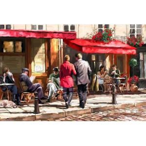 """Q635 Картина раскраска по номерам на холсте   """"Пара идет в кафе"""", 40х50 см"""