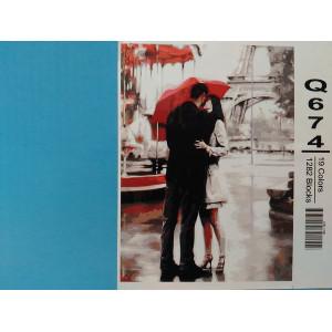"""Q674 """"Поцелуй под красным зонтом"""", 30х40 см - купить недорого в интернет магазине"""