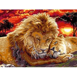"""ЕХ5274 """"Лев и львица на закате"""", 30х40 см - купить в Омске недорого"""