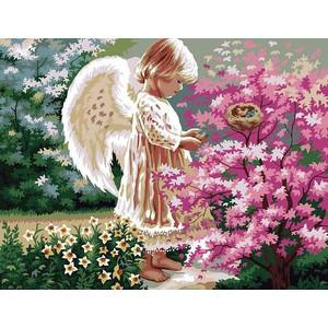 """В230 """"Ангел рядом с розовым кустом"""", 30х40 см - купить недорого в интернет магазине"""