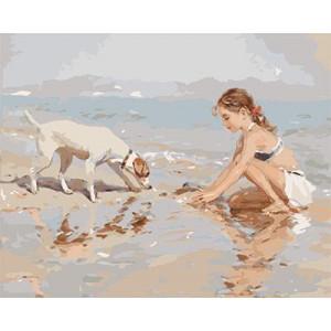 "GХ9018 ""Девочка и собака на берегу моря"", 40х50 см"