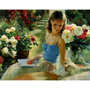 "GX7042 ""Девушка с книгой среди роз"""
