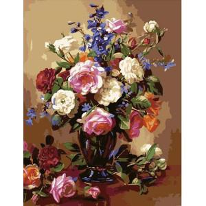 """G386 """"Букет цветов в темной вазе"""", 40х50 см"""