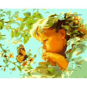 """GХ7206 """"Девочка смотрит на бабочку"""", 40х50 см купить в Омске недорого"""