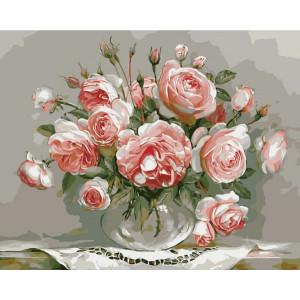 """G436 """"Розовые розы в прозрачной вазе"""", 40х50 см купить в Омске недорого"""