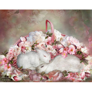 """GХ7613 """"Два кролика в розах"""", 40х50 см"""