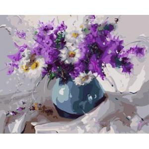 """GХ8644 """"Ромашки и сиреневые цветы"""", 40х50 см"""