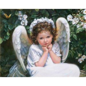 """GХ8600 """"Девочка-ангел в белом венке"""", 40х50 см купить в Омске недорого"""