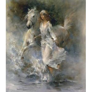 """GХ8169 """"Белая лошадь и девушка"""", 40х50 см"""