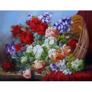 """GХ8694""""Цветы высыпались из корзины"""", 40х50 см"""