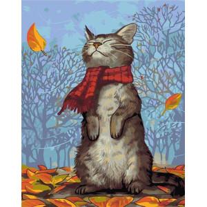 """GХ8795 """"Кот в красном шарфе"""", 40х50 см"""