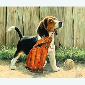 """GХ6945 """"Собака с бейсбольной перчаткой"""", 40х50 см купить в Омске недорого"""
