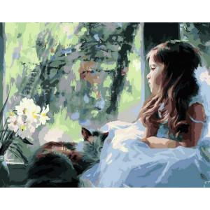 """GХ6920 """"Девочка в белом и кошка"""", 40х50 см купить в Омске недорого"""