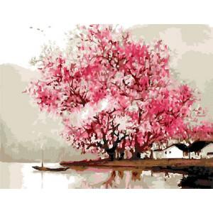 """G427 """"Розовые деревья на брегу"""", 40х50 см купить в Омске недорого"""
