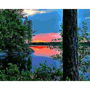 "GХ8897 ""Рассвет на озере"", 40х50 см"