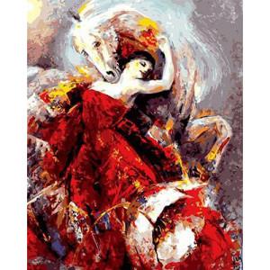 """GХ8915 """"Девушка в красном и лошадь"""", 40х50 см"""