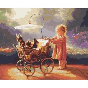 "GХ8957 ""Девочка катит коляску со щенками"", 40х50 см"