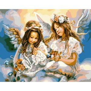 """GХ8963 """"Две девочки-ангела на облаке"""", 40х50 см"""