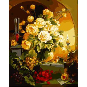 """GХ8990 """"Розы, виноград и свеча"""", 40х50 см"""