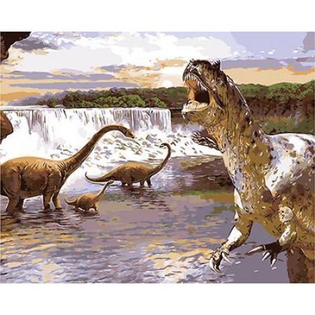 """GХ9015 """"Динозавры у водопада"""", 40х50 см"""