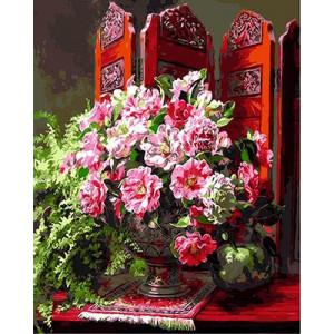 """GХ9016 """"Розовые цветы у ширмы"""", 40х50 см"""