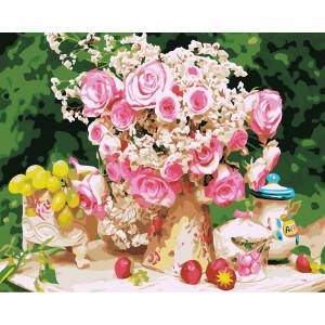"G388 ""Букет розовых роз на столе"", 40х50 см купить в Омске недорого"