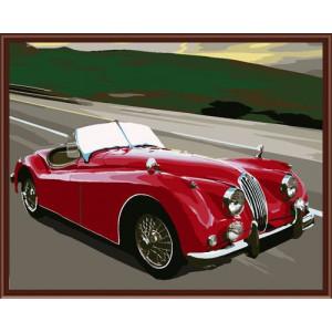 """GX6302 """"Красный ретроавтомобиль"""", 40х50 см"""