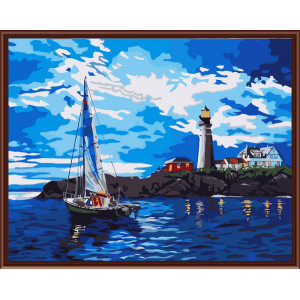 """GX6059 """"Синее море, яхта, маяк"""", 40х50 см"""
