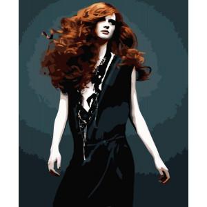 """GX6136 """"Девушка в черном платье"""", 40х50 см"""