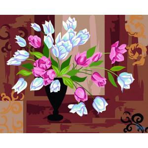 """GX6300 """"Белые и розовые тюльпаны"""", 40х50 см купить в Омске недорого"""